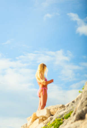 bathing costume: View of blonde girl in swimsuit, Rovigno - Croatia