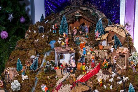 presepe: View of nativity scene, in Italian called Presepe  Stock Photo