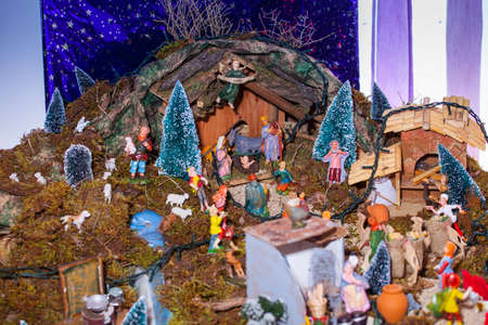 presepe: View of nativity scene, in Italian called Presepe  Stock Photo