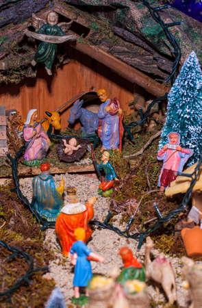 View of nativity scene, in Italian called Presepe  photo