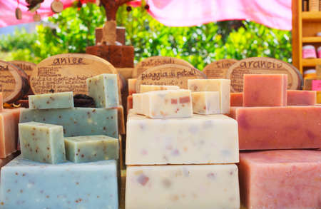 street market: View of homemade soaps in the street market