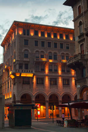 View of Piazza Goldoni at sunset in Trieste photo