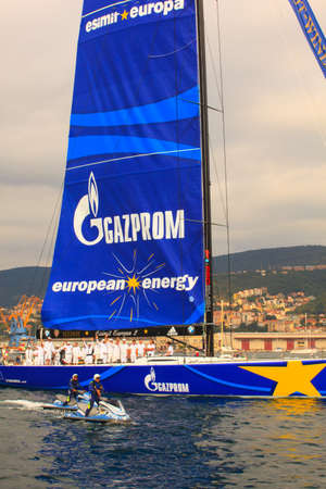 barcolana: TRIESTE, ITALY - OCTOBER, 12: Esimit Europa 2 boat winner of the 46° Barcolana regatta in Trieste sea on October 12, 2014 Editorial