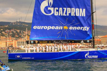 barcolana: TRIESTE, ITALY - OCTOBER, 12: Esimit Europa 2 boat winner of the 46? Barcolana regatta in Trieste sea on October 12, 2014 Editorial