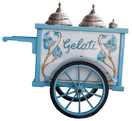 View of vintage ice cream cart isolated on white background photo
