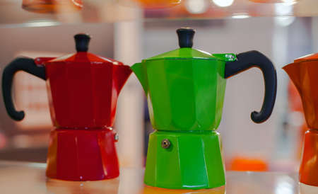 View of many colorful Mocha, Italian coffee maker Stock fotó