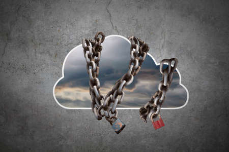 Cloud computing concept. Cloud chained on Gray background photo