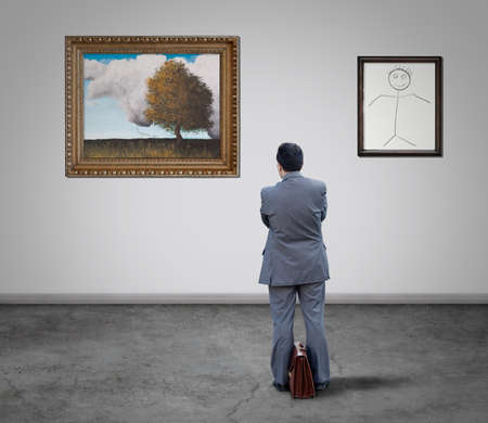 equate: Businessman looking at the art gallery paintings