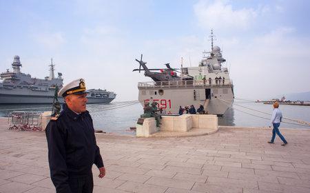 TRIESTE, ITALY - NOVEMBER, 02: First marshal lieutnant of the Frigata Virginio Fasan of the Italian Navy on November 02, 2014