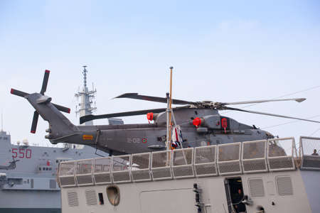 TRIESTE, ITALY - NOVEMBER, 02: View of helicopter on the the Frigata Virginio Fasan the Italian Navy on November 02, 2014