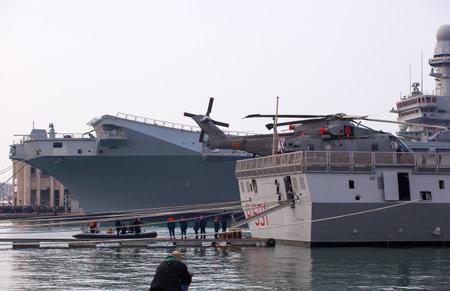 TRIESTE, ITALY - NOVEMBER, 02: View of the Frigata Virginio Fasan of the Italian Navy on November 02, 2014
