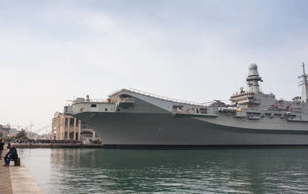 cavour: TRIESTE, ITALY - NOVEMBER 02: View of the the Italian aircraft carrier Cavour aircraft carrier and the newest flagship of the Italian Navy on November 02, 2014