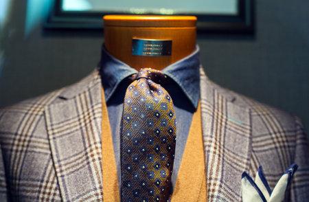 Elegant male suit on shop mannequins high fashion retail display Éditoriale