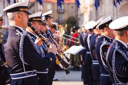 TRIESTE, ITALY - NOVEMBER, 04: Concert band during the celebrations for the 4th of November, National Unification and Armed Forces' Day, on November 04, 2014