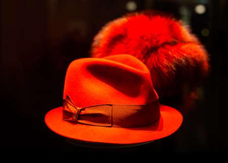 female leprechaun: Close up of red leprechaun hat on black background