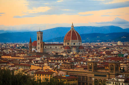 cattedrale: View of the Cathedral of Saint Mary of the Flower - Cattedrale di Santa Maria del Fiore in Florence, tuscany. Italy Stock Photo