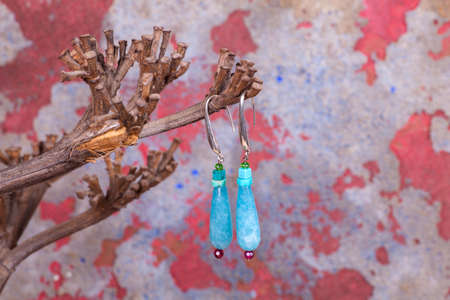 chalcedony: Close up of chalcedony earrings, manufactured by Ornella Salamone