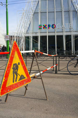 costruction: MILAN, ITALY - MARCH 29: View of under costruction sign next the Expo gate 2015 in Milan on March 29, 2015 Editorial