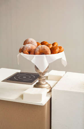 silver tray: View of Italian croissants on silver tray