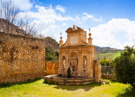 nymphs: View of Nymphs fountain in Leonforte, Sicily. Italy Stock Photo