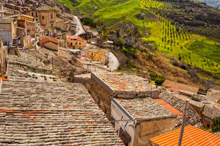 austere: View of Leonforte roofs. Leonforte is a little town in the center of Sicily Stock Photo