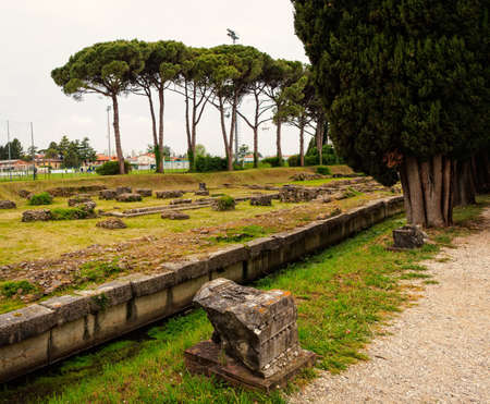 archeological: View of the Archeological area of Aquileia in Italy