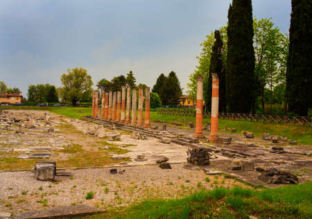 archeological: View of columns, Roman ruins on Archeological area of Aquileia in Italy Stock Photo