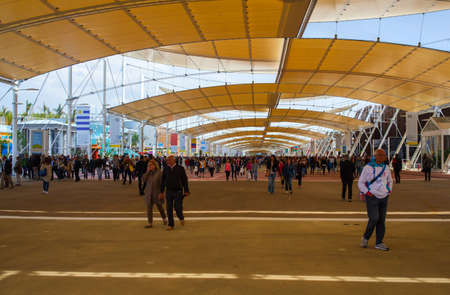 the world expo: MILAN, ITALY - MAY, 20: People visiting the Expo, universal exposition on the theme Feeding the planet, Energy for life on May 20, 2015 in Milan
