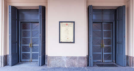 scala: MILAN, ITALY - MAY, 19: View of the Teatro alla Scala entrance on May 19, 2015 in Milan