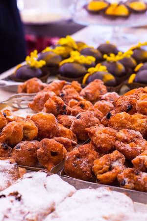 zeppole: View of zeppole, Italian pastry in the street market Stock Photo