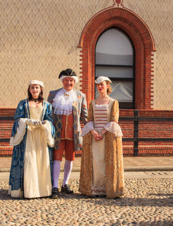 eighteenth: MILAN, ITALY - MARCH, 29: People in eighteenth century clothes in the Sforzesco Castle on March 29, 2015