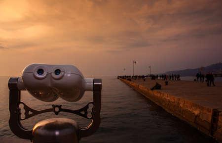 seaboard: View of tourist binoculars in the Trieste seaboard