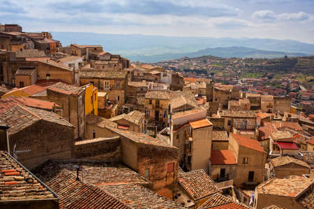View of the Assoros roofs, Sicily. Italy