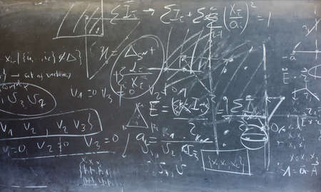 algorithms: View of mathematical expressions drawed on chalkboard Stock Photo