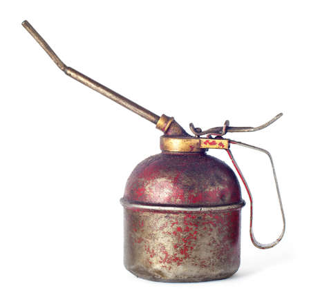 oilcan: View of vintage oil can isolated over white