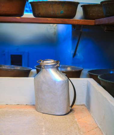 aluminium: View of ancient aluminium milk can  Stock Photo