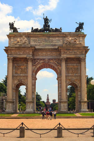 pace: View of the Arco della Pace, triumphal arch in Milan, Italy