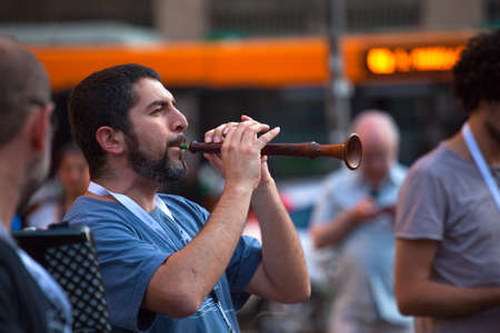 piper: MILAN, ITALY - JUNE, 21, Piper during the street concert on Milan 21, 2015