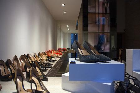 heeled: View of Italian female heeled shoes on shelves of shop