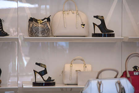 heeled: View of leather shoulder handbags and heeled shoes