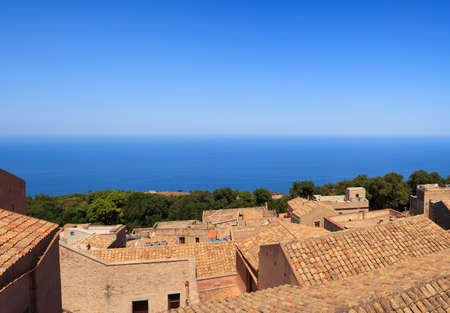 seaview: Amazing seaview from Erice houses. Trapani. Sicily