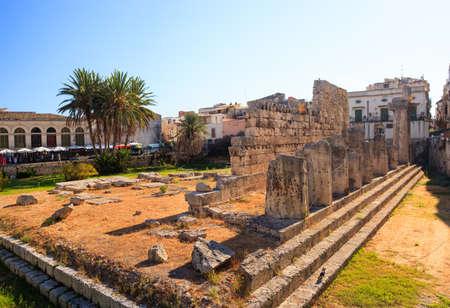 apollo: View of the Temple of Apollo in Siracusa, Sicily Stock Photo