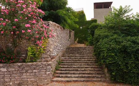 elymian: View of Erice staircase. Erice the city of 100 churches, Trapani Stock Photo