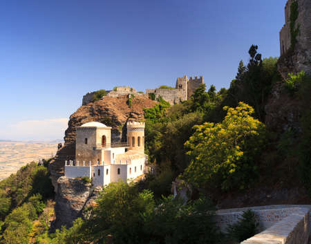 erice: View of Torretta Pepoli and Venere castle in Erice, Sicily