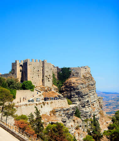 erice: View of the Venere castle in Erice, Trapani Stock Photo