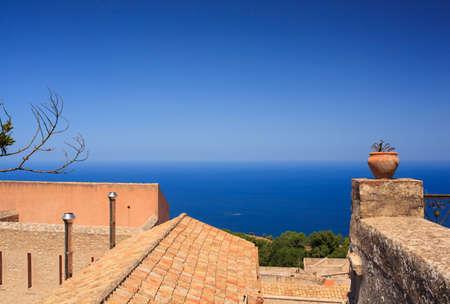 erice: Amazing seaview from Erice houses. Trapani. Sicily