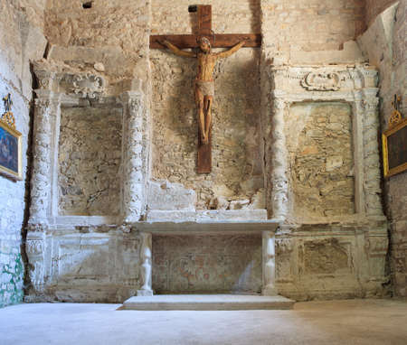 erice: View of the wooden crucifix in the San Giuliano church, Erice Stock Photo
