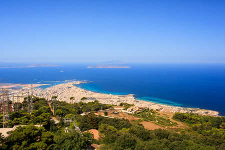 erice: View of Trapani and sea from Erice Stock Photo