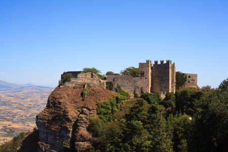 erice: View of the Venere castle in Erice, Trapani Editorial