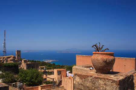 erice: Amazing seaview from Erice houses. Trapani. Sicily